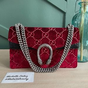 NEW Gucci Dionysus Small Velvet Flap Bag Red